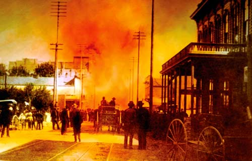 Old photograph of the Great Seattle Fire